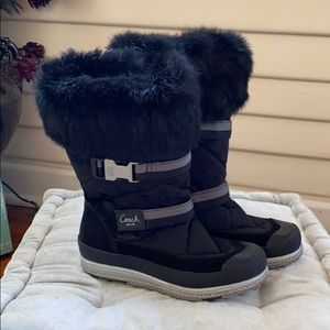 Coach Mariette Rabbit Fur Trim Snow Boots